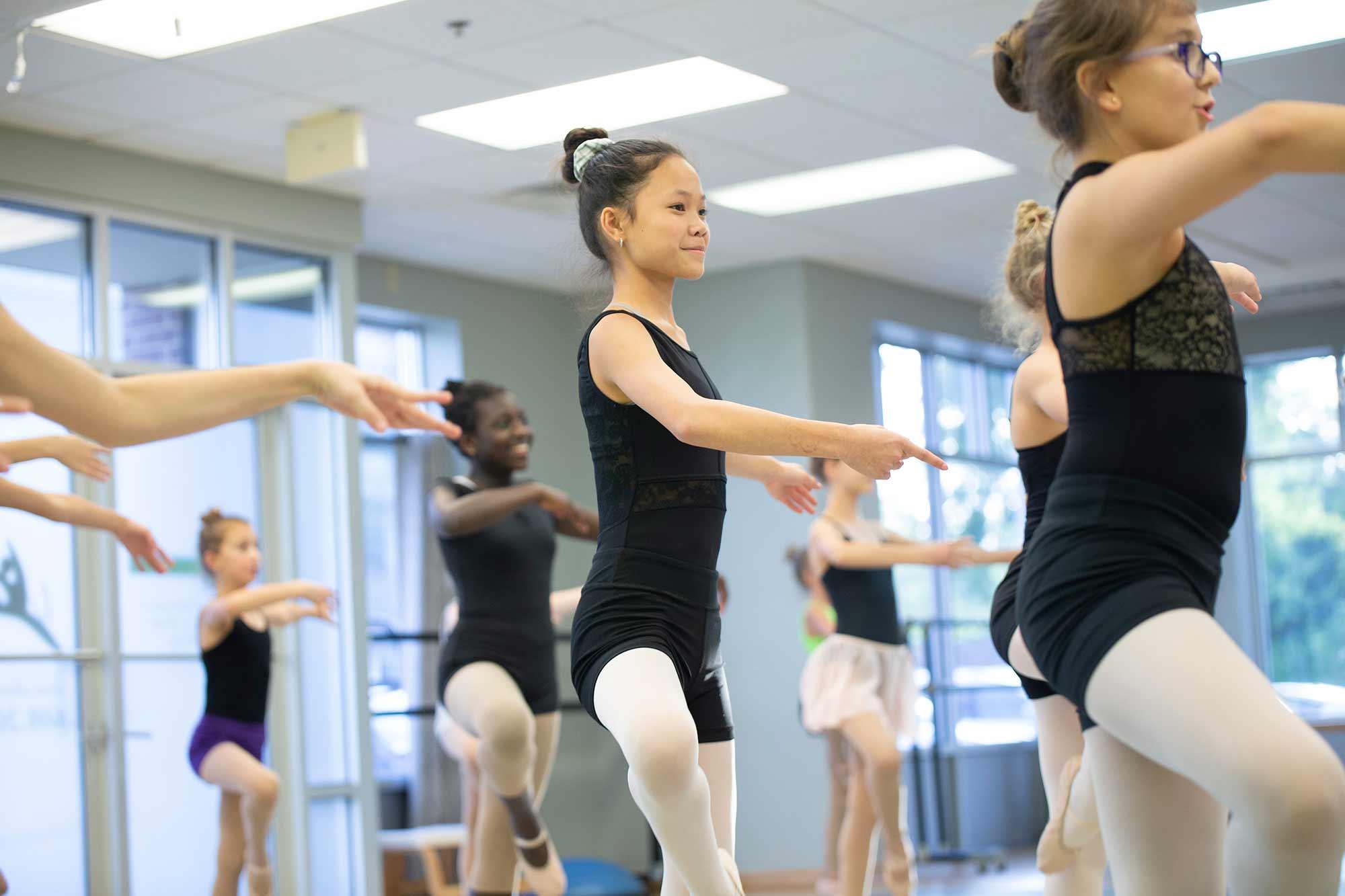 Dancers practicing ballet